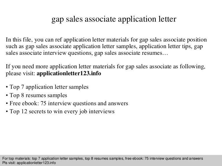 Gap sales associate application letter