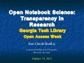 Bradley Open Notebook Science Georgia Tech OA week
