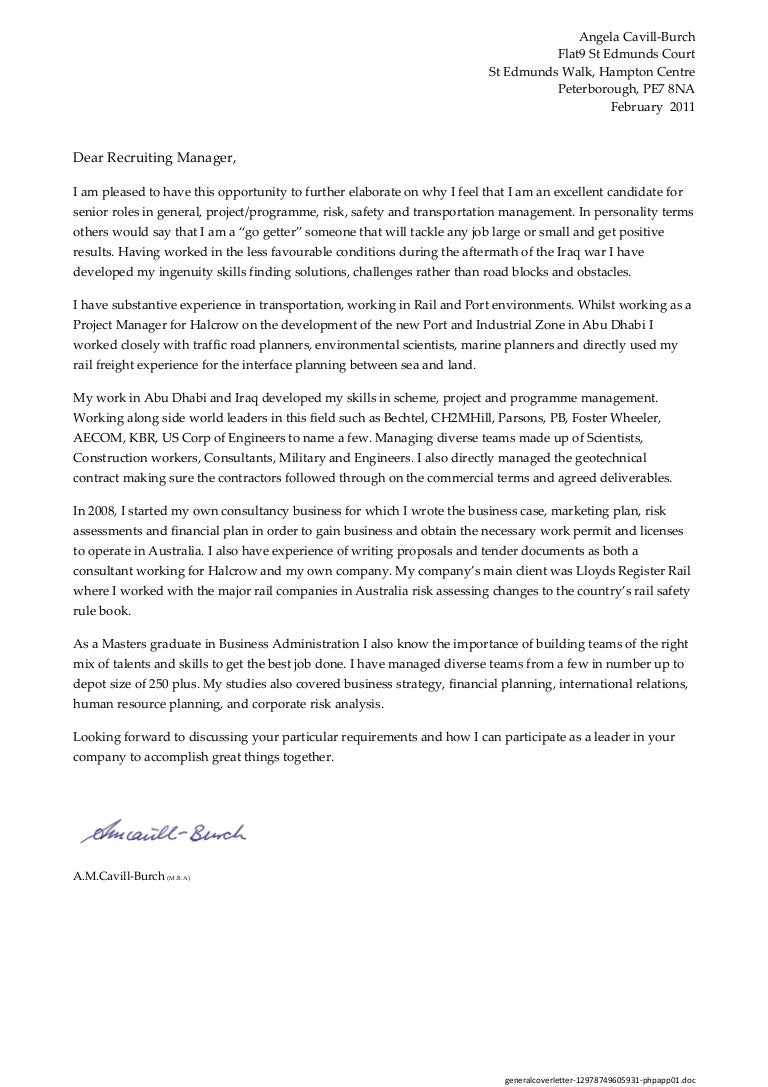 High Quality General Cover Letter General Cover Letter
