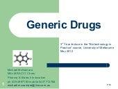 Generic Drugs Michael Mc Namara May 12