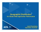 Geographic Distribution for Global Web Application Performance