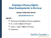 Employee Privacy Rights: New Develo...