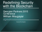 Redefining Security with the Blockchain by William Mougayar