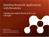 Code4lib 2012: Building Research Applications with Mendeley