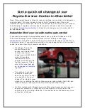 Get a quick oil change at our Toyota Service Center in Charlotte!