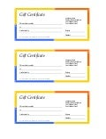 Gift Certificate (Multi Colored Border, 3 Up)