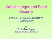 World Hunger and Food Security