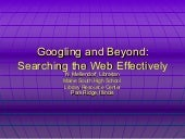 Googling and Beyond: Search the Web...
