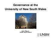 Governance at UNSW Aaron Magner 2009