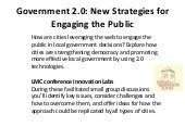 Government 2.0 New strategies for e...