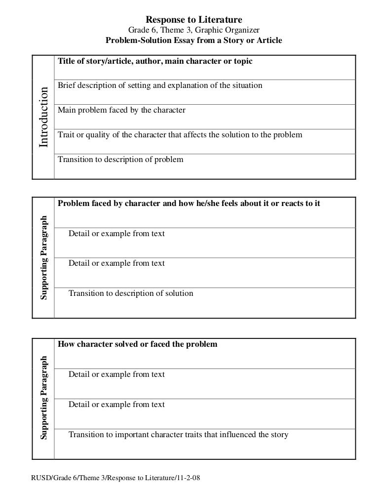 problem solution essay organizer