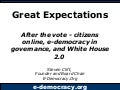 Great Expectations: After the vote - citizens online, e-democracy in governance, and White House 2.0