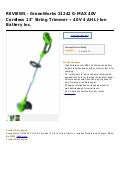 Green works 21242 g max 40v cordless 13  string trimmer -- 40v 4 ah li-ion battery inc.