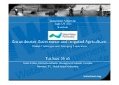 Groundwater Governance and Irrigated Agriculture. By Tushaar Shah.