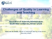 Challenges of Quality in Teaching and Learning - Gwen van der velden