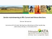 Gender mainstreaming at ATA: Curren...