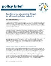 Tax Reform, a Looming Threat to a Booming Solar Industry