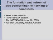 Hacking Law Reform LAWS4305 2003