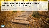 What's New in SAP HANA SPS 11 Platform Lifecycle Management (Operations)