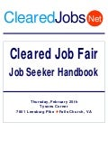 Cleared Job Fair Handbook February 25, 2010 Tysons Corner