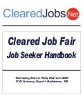 ClearedJobs.Net Cleared Job Fair Job Seeker's Handbook March 18th