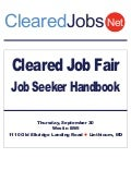 Cleared Job Fair Job Seeker Handbook, Sept 30, BWI Westin