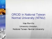 ORCID Implementation in National Taiwan Normal University (NTNU)