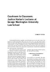Justice Harlan's Law Lectures at GWU