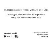 Harnessing the Value of UX