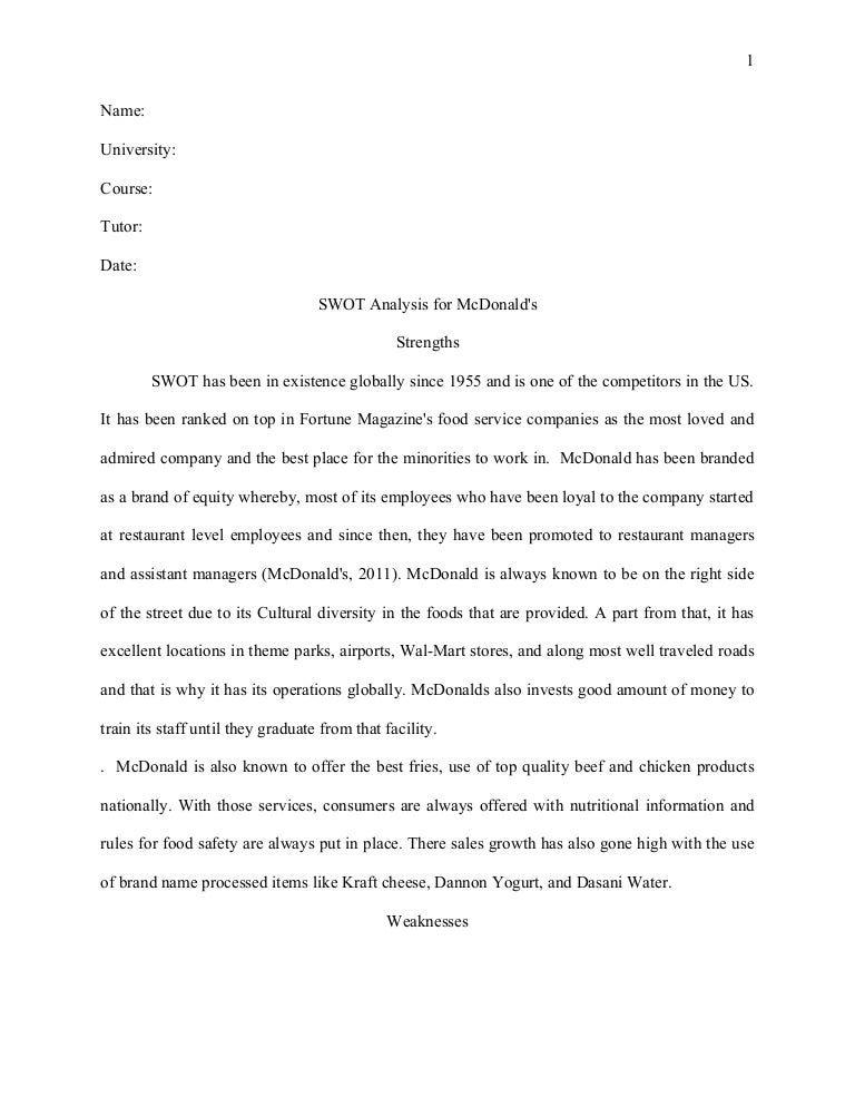 Mcdonalds review essay peer