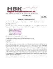 Highbank Resources - Website Maintenance