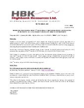Highbank Resources Proceeding with 3rd Tranche & Oversubscriptions of Financing