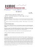 Highbank Updates and Reports on Market Activity