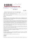Highbank Appoints Hans Smit, P. Geo. To Its Advisory Board