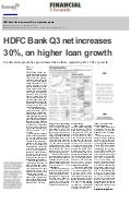 HDFC Bank Q3 net increases 30%, on higher loan growth