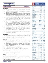 HDFC Morning Market Note - HDFC Sec