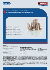 Hdfc mutual fund common application...