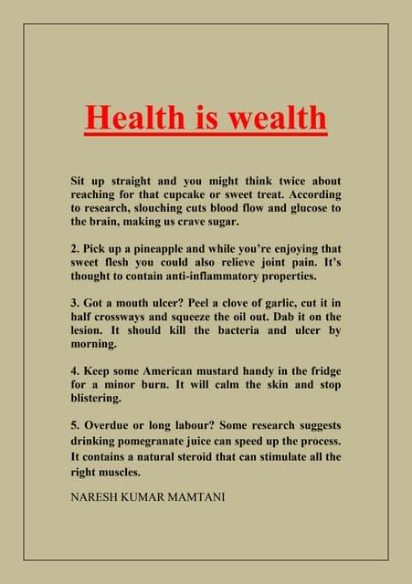 Speech On Health Is Wealth Essay Write An Essay On Health Is Wealth  Plagiarism Free Best