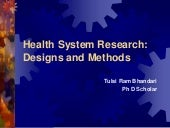 Health system research designs and ...