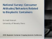 National Survey: Consumer Attitudes/Behaviors Related to Bioplastic Containers