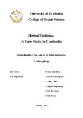 Herbal medicine case study in cambodia