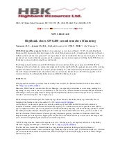 Highbank Resources Closes $350,400 Second Tranche of Financing