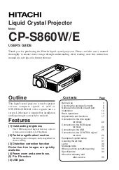 Hitachii cp s860e lcd projector manual