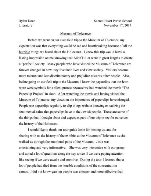 The holocaust essay