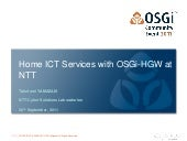 """Home ICT Services"" with OSGi-HGW at NTT - Takefumi Yamazaki"