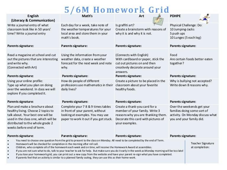 Homework matrix