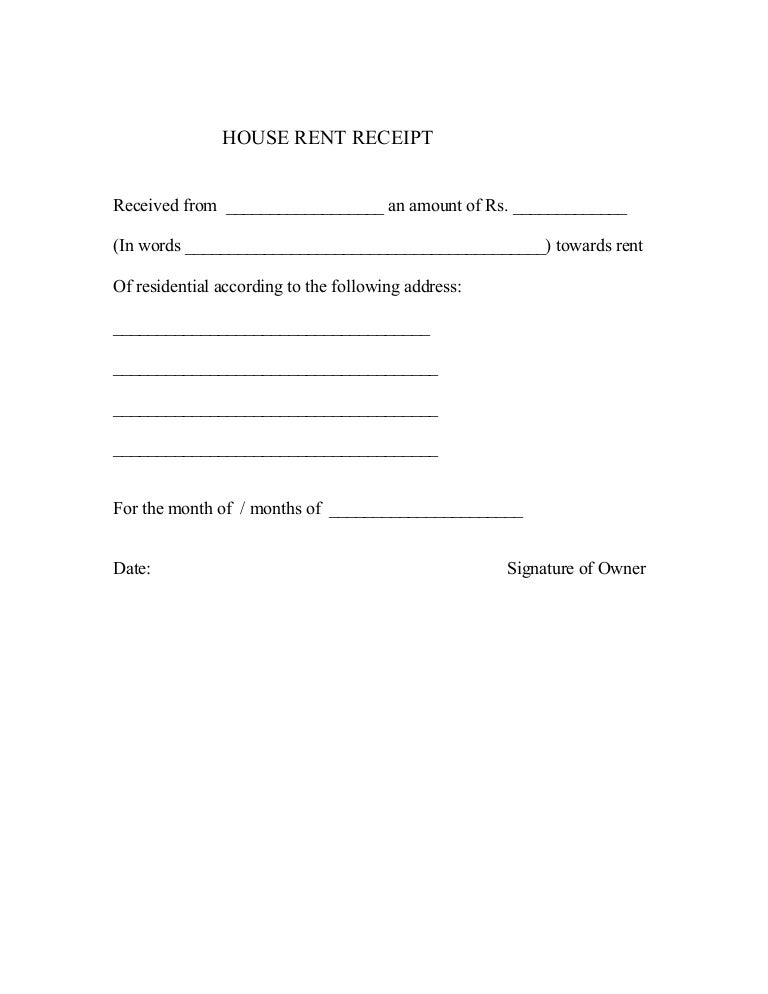 Doc685399 Format of Rent Receipt House Rent Receipt Sample – Format for House Rent Receipt