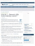 How do i... reseed a sql server identity column    tech_republic