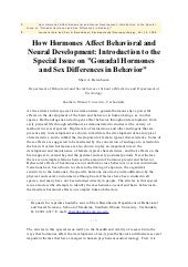 How hormones affect behavioral and ...