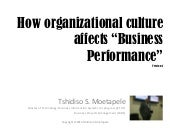 How Organizational Culture affects Business Performance